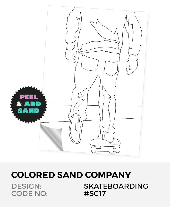 Skateboarding #SC17 Peel 'N Stick Sand Art Board