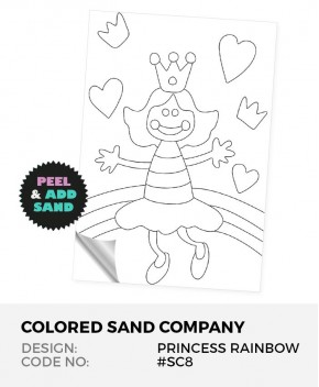 Princess Rainbow #SC8 Peel 'N Stick Sand Art Board