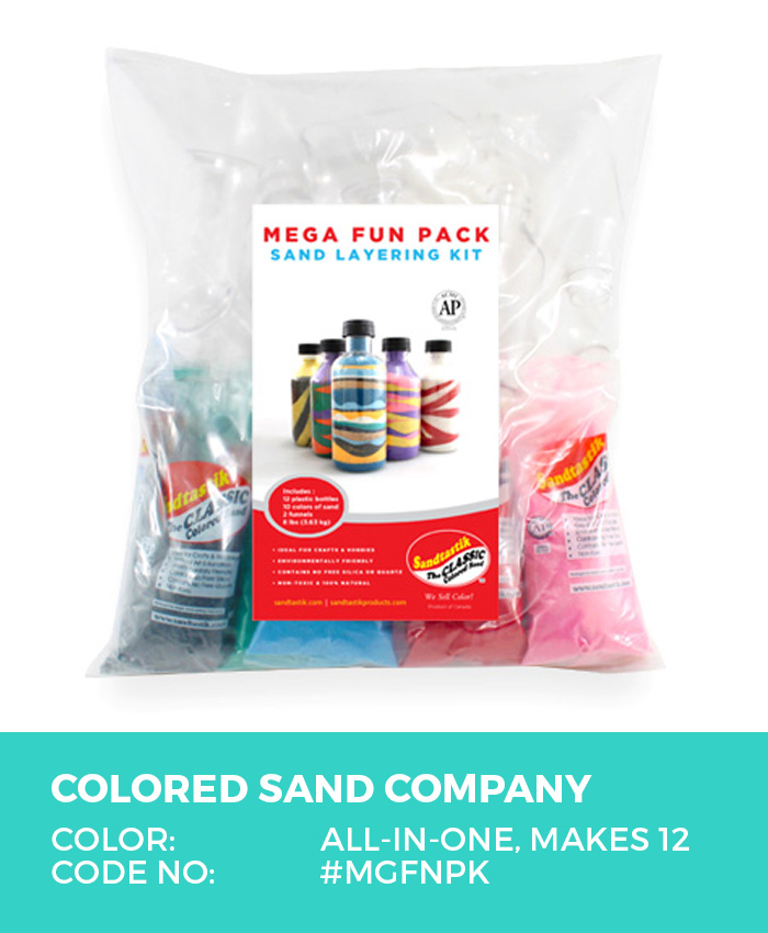 Mega Fun Colored Sand Art Activity Kit, Makes 12 Bottles