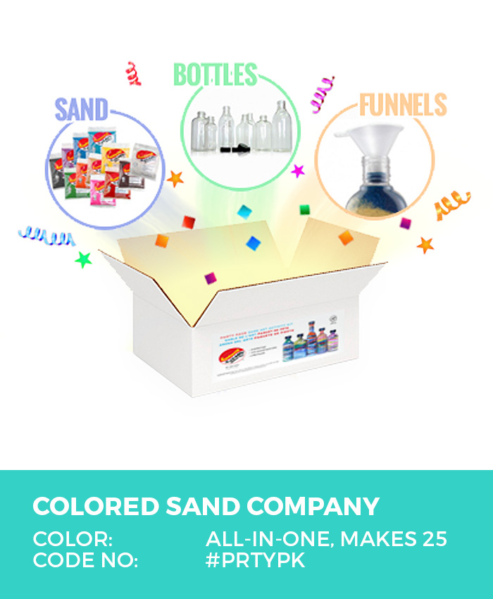 Colored Sand Art Activity Kit, Party Pack, Makes 25 Bottles