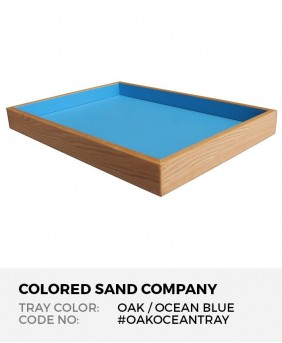 "Sand Tray in Solid Oak with Ocean Blue Finish, 28.5"" x 19.5"" x 3"""