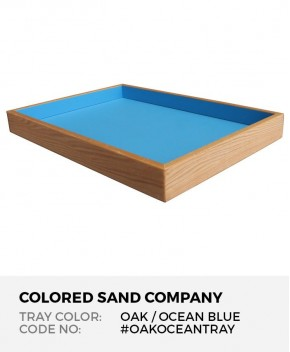 """Sand Tray in Solid Oak with Ocean Blue Finish, 28.5"""" x 19.5"""" x 3"""""""