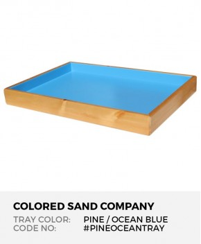 "Sand Tray in Solid Pine with Ocean Blue Finish, 28.5"" x 19.5"" x 3"""