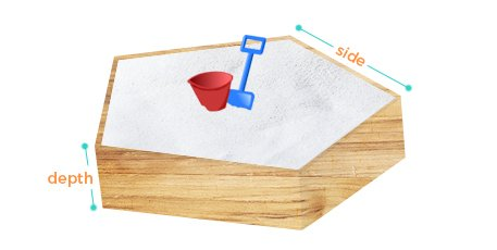 Calculate how much play sand is needed to fill a 5-sided pentagonal sandbox