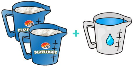 Activate Plastermix by adding 2 parts casting material to 1 part water