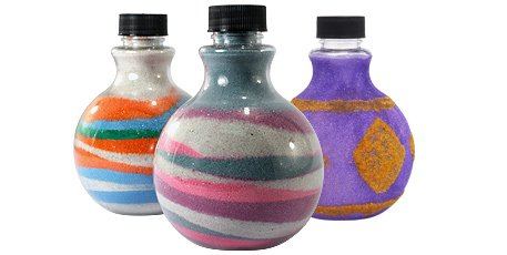 Sand art bottles with colored sand