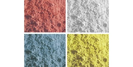 Model 'N Mold Sculpting Sand is available in 4 colors: White, Red, Blue, Yellow